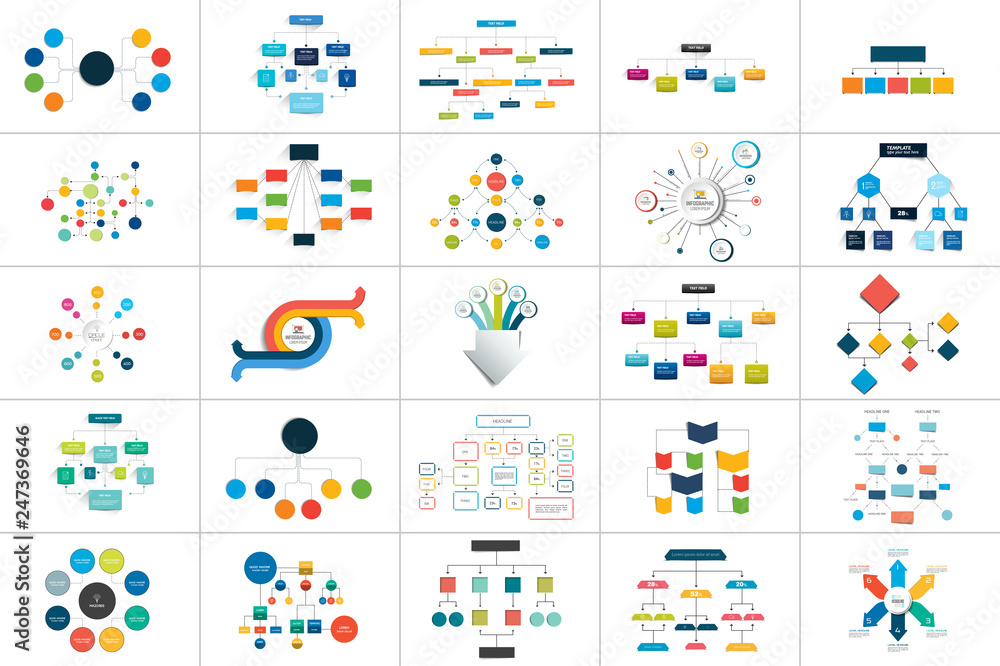 Fototapeta Mega set of various  flowcharts schemes, diagrams. Simply color editable. Infographics elements.
