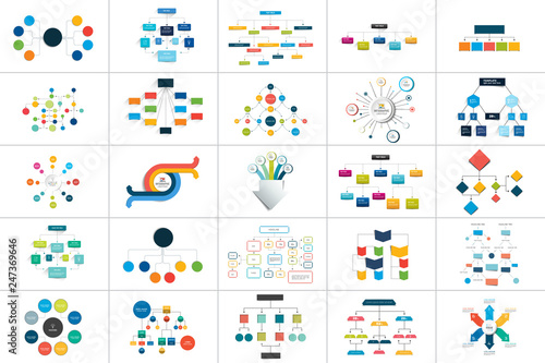 Mega set of various  flowcharts schemes, diagrams Wallpaper Mural
