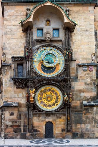 Famous Prague clock - Orloj, most popular touristic landmark Wallpaper Mural
