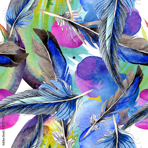 Spoed Foto op Canvas Paradijsvogel Bird feather from wing isolated. Watercolor background illustration set. Seamless background pattern.