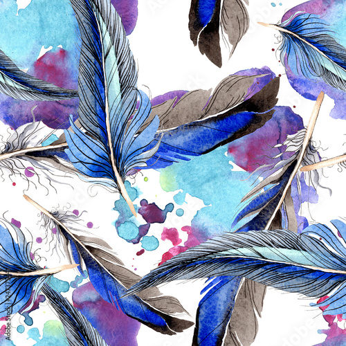 Deurstickers Paradijsvogel Bird feather from wing isolated. Watercolor background illustration set. Seamless background pattern.