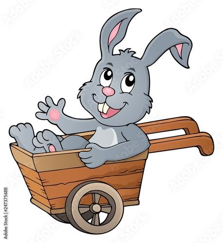 Poster Voor kinderen Easter bunny in wheelbarrow image 1