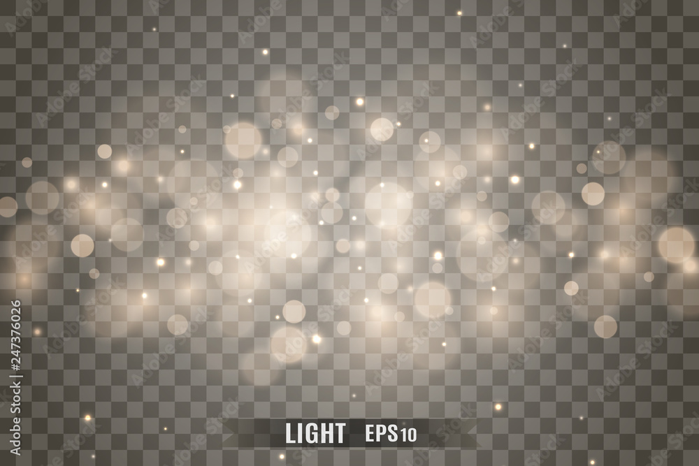 Fototapety, obrazy: Stars glitter special light effect. Vector sparkles on transparent background. Christmas abstract pattern. Sparkling magic dust particles
