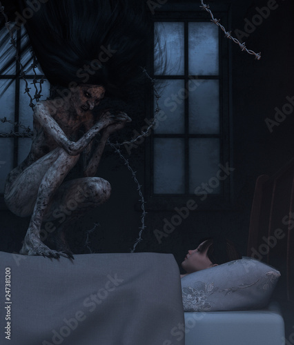 Photo  Night hag,Folklore story,Teenage girl with sleeping paralysis,girl being visit o