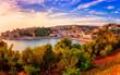 Panoramic view of Ulcinj at sunset, medieval mediterranean town, popular summer tourist resort in Montenegro, scenic travel background
