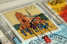 Germany - Circa 1993: Stamp Printed By Germany. Edition On Building, Shows 450th Anniversary Of Pforta School, Shallow Depth Of Field, Circa 1993