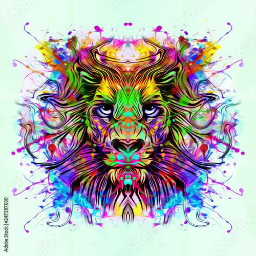 wild tiger face tattoo with colorful abstract background
