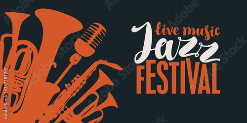 Photo Vector poster for a jazz festival of live music in retro style on black backgrou