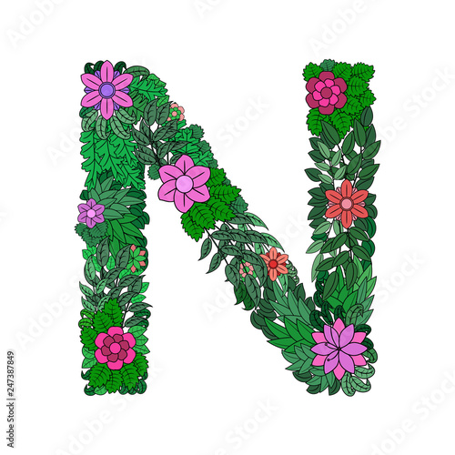 The letter N -  bright element of the colorful floral alphabet on a white background Wallpaper Mural