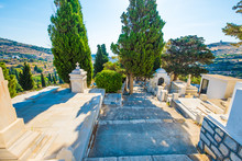 Greek Orthodox Graveyard. Ancient Grave On The Cemetery In Lefkes, Paros, Greece