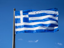 Greek Flag Waving In Blue Sky ...