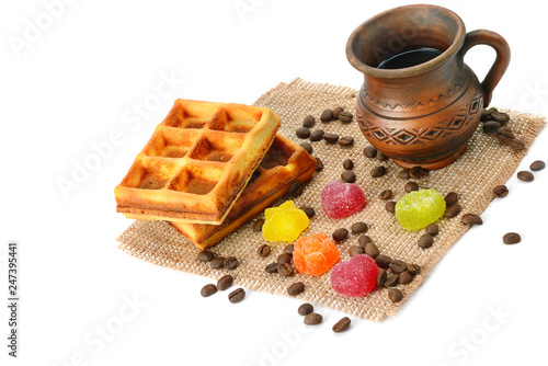 Cup of coffee, waffle and marmalade isolated on white background.