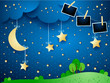 Night landscape with hanging moon and photo frames