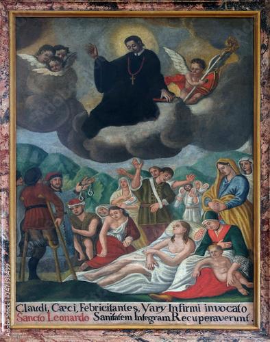 Fototapeta Saint Leonard treat people, altarpiece in the church of Saint Leonard of Noblac