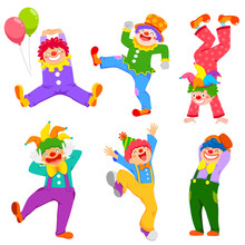 Set Of Cartoon Happy Clowns In...
