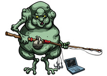 Internet Troll/ Illustration Cartoon Ugly Troll Fisherman With A Fishing Rod And A Laptop On The Hook