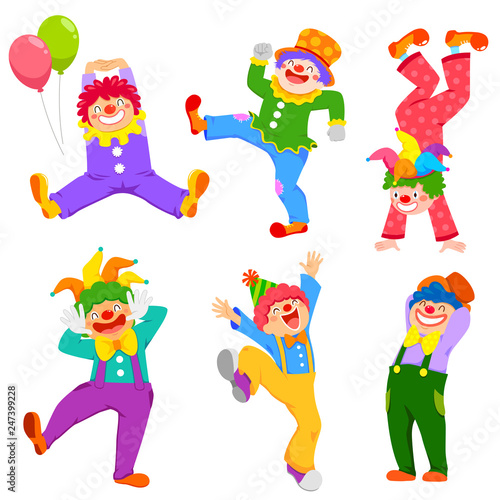Set of cartoon happy clowns in different poses Poster Mural XXL