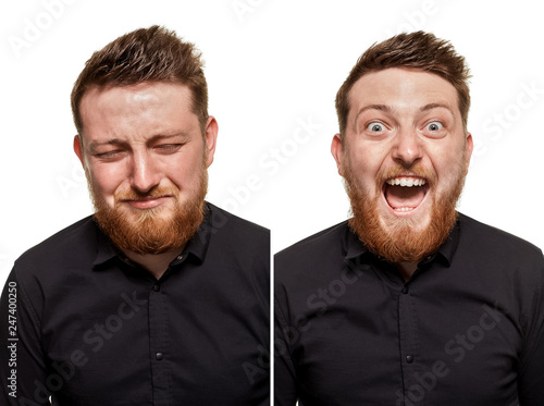 Studio portrait of a young man crying and laughing man Fototapeta