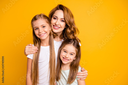 Portrait of three nice cute lovely winsome attractive cheerful cheery blonde pos Canvas Print