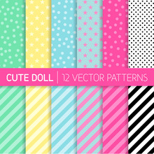 Cute Girly LOL Doll Style Vector Patterns. Pastel Pink, Blue, Mint Green, Yellow, Black And White Polka Dots, Stars And Stripes. Kids Birthday Party Decor. Repeating Pattern Tile Swatches Included.