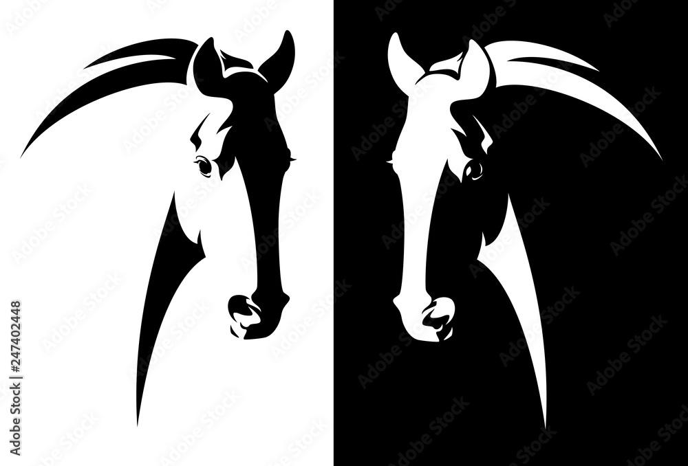 Fototapeta horse head black and white simple vector outline - monochrome equine emblem design