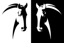Horse Head Black And White Simple Vector Outline - Monochrome Equine Emblem Design
