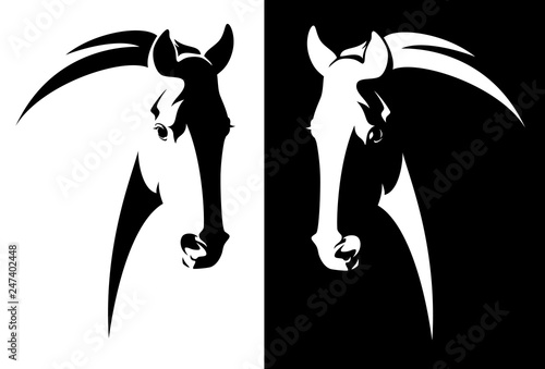 Fototapeta horse head black and white simple vector outline - monochrome equine emblem design obraz