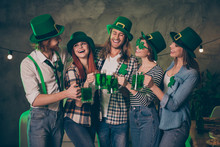 Close Up Photo Company Hands Arms Raise Irish Beer Beverage Bottles Scream Shout Bar Pub Carefree Stylish Specs National Culture Tradition St Paddy Day Weekend Vacation Leisure Rejoice Free Time