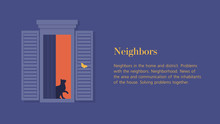 Cat In The Open Window. Neighbors. Facade Of A Residential Building. Summer Night. Vector Flat Illustration