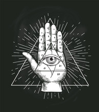 All Seeing Eye Triangle Geometric Vector Design. Providance Pyramid Tattoo Symbol With Occult Secret Hand Sign. Mystic Spiritual Illuminati Emblem Sketch Drawing Illustration