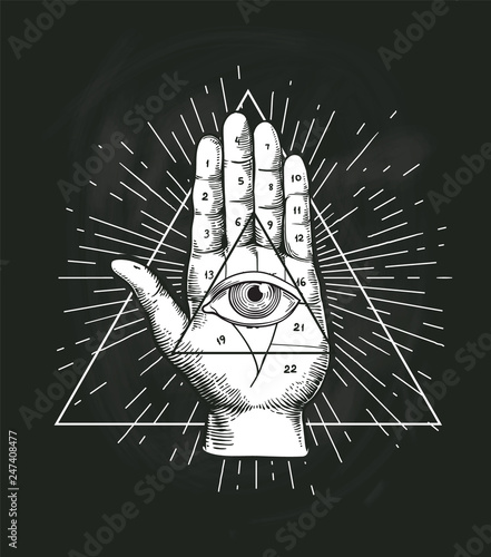 Fotografie, Obraz All Seeing Eye Triangle Geometric Vector Design