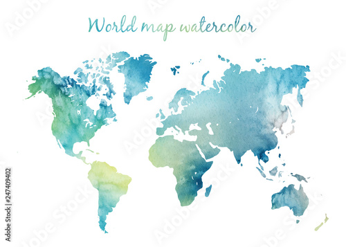 Photo sur Toile Carte du monde Watercolor world map in vector on wight background. Illustration in vector