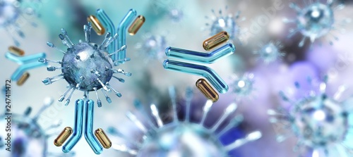 Fotografia  Virus and antibodies close up, microorganism, a microscopic organism, especially