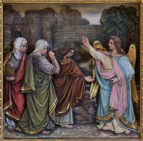 Mary Magdalene and women at the empty tomb of Jesus on day of Resurrection, reli Wallpaper Mural
