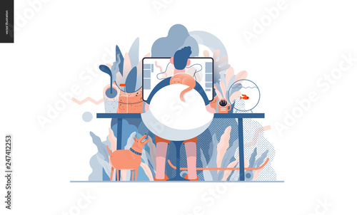 Technology 3 -Home Office - modern flat vector concept digital illustration home office metaphor, a freelancer guy working at home with pets and plants. Creative landing web page design template