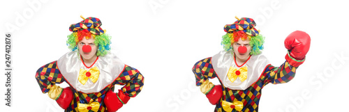 Foto op Aluminium Carnaval Clown with boxing gloves isolated on white