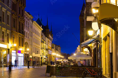Fotobehang Europa Streets of Torun in evening