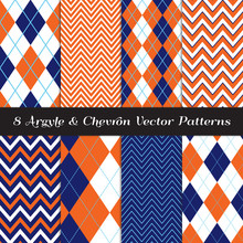 Navy Blue, Orange And White Argyle And Chevron Vector Patterns. Sky Blue Accent Lines.Classic Sport Fashion Textile Prints. Kids Party Backgrounds. Pattern Tile Swatches Included.