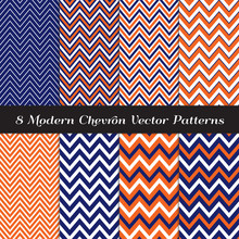 Navy Blue, Orange And White Chevron Zigzag Stripes Vector Patterns. Modern Geometric Nautical Backgrounds. Repeating Pattern Tile Swatches Included.