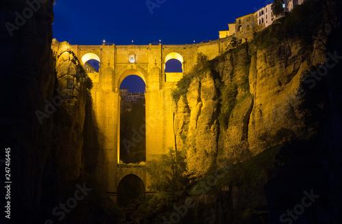 Puente Nuevo in night. Ronda