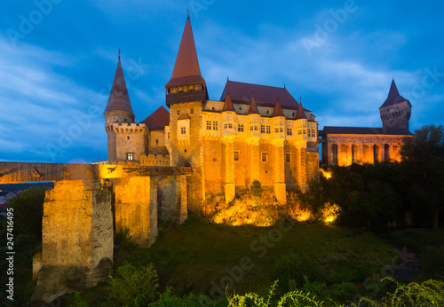 Image of Corvin Castle on the sunset