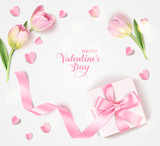 Fototapeta Tulipany - Happy Valentine's Day. Holiday design template. Vector background with decorative white gift box, pink tulip and paper heart. Vector illustration