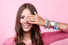 Young Girl With Bracelets And Rings On Hand