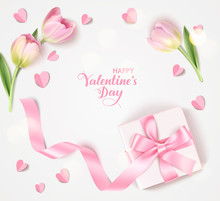 Happy Valentine's Day. Holiday Design Template. Vector Background With Decorative White Gift Box, Pink Tulip And Paper Heart. Vector Illustration
