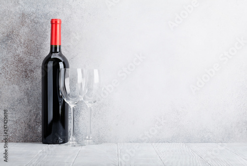 Red wine bottle and glasses