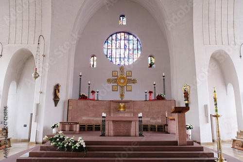 Leinwand Poster  Main altar in the Saint Lawrence church in Kleinostheim, Germany