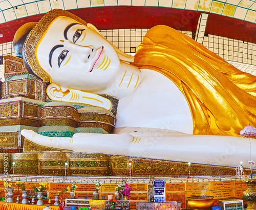 Deurstickers Asia land The head of Shwethalyaung Buddha, Bago, Myanmar