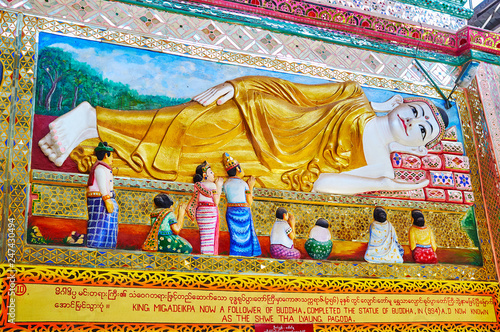 Deurstickers Asia land Relief pictures in Shwethalyaung Buddha Temple, Bago, Myanmar