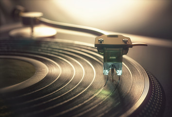 Vinyl record being played, ...