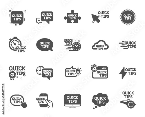 Quick tips icons. Set of Helpful tricks, Solution and Quickstart guide icons. Tutorial, helpful tips and turning tricks. Hand hold smartphone, Quick chat, tutorial, whistle signs. Vector